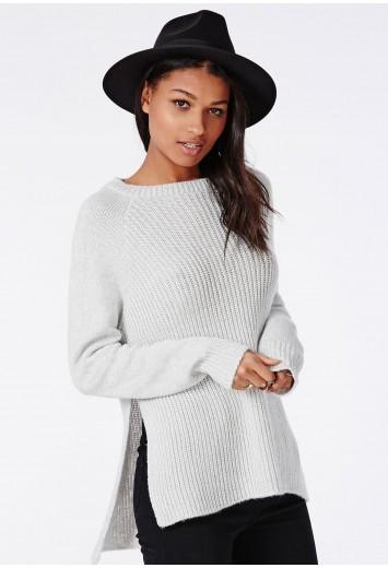 Ribbed side split knitted jumper grey