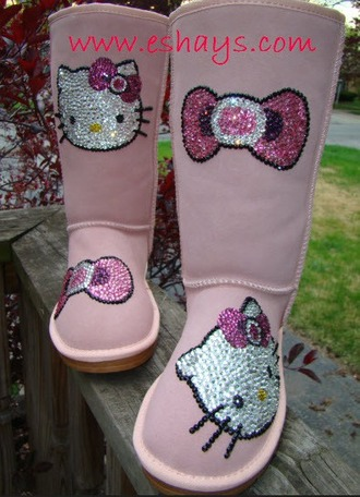 shoes pink winter snow boots hello kitty boots pink snow winter boots custom boots