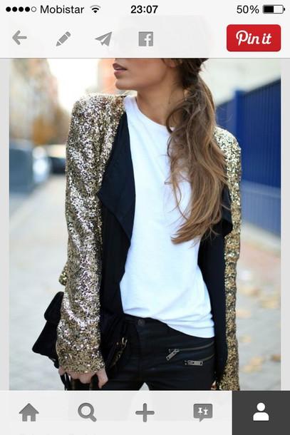 jacket glitter gold gold sequins blazer sequin jacket