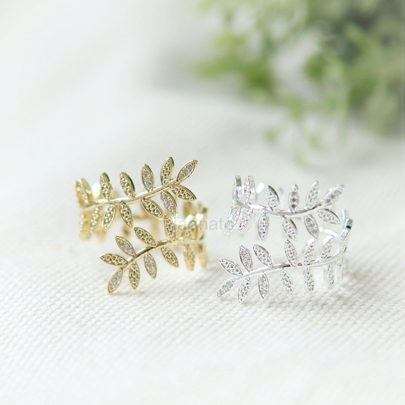 Leaf wrap ring / adjustable ring, choose your color, gold and silver