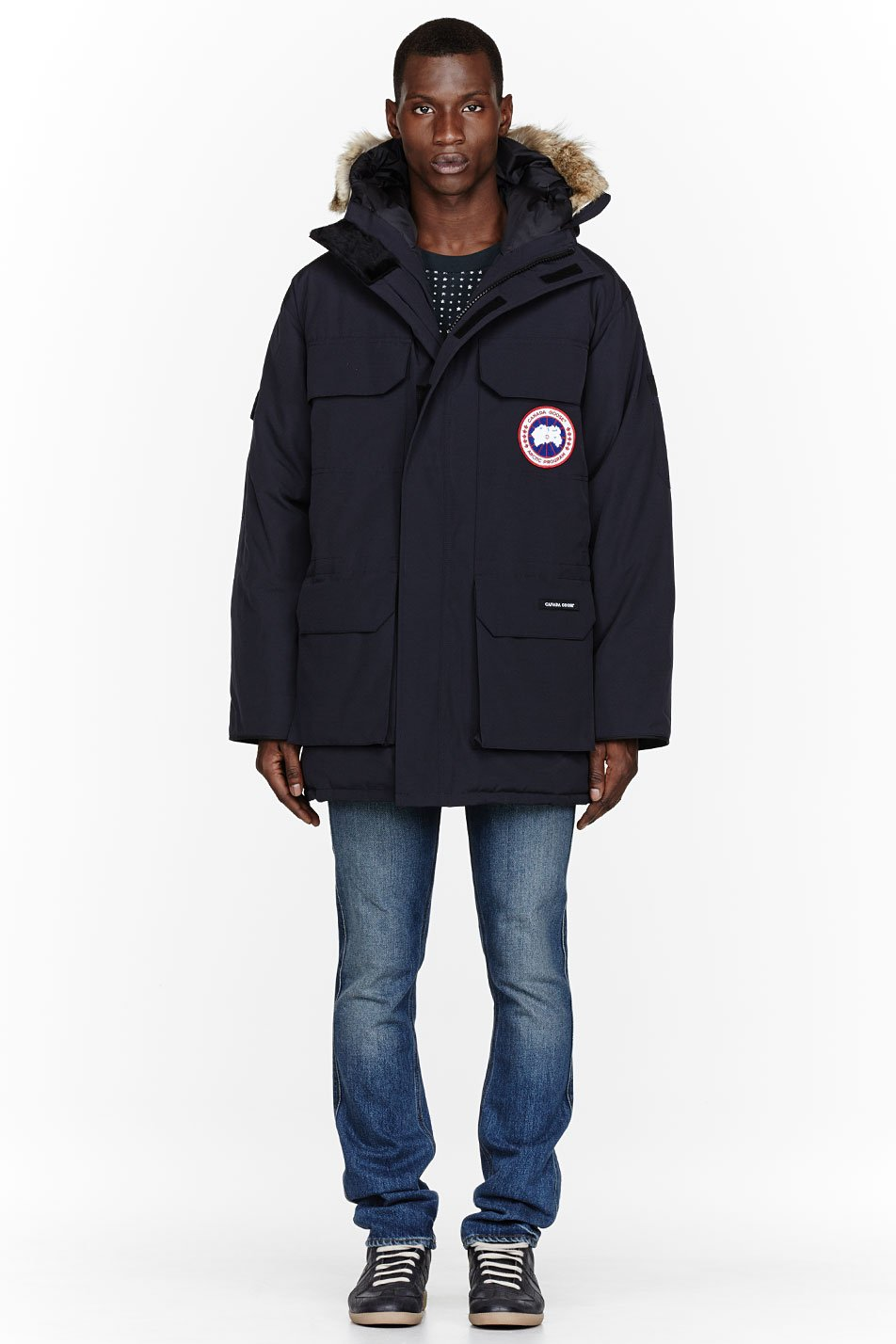 canada goose navy down and fur expedition parka