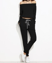 jumpsuit,girl,girly,girly wishlist,black,off the shoulder,joggers,joggers pants,two-piece,sweater,blouse