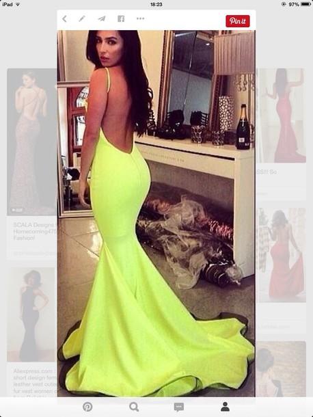Dress Yellow Low Back Mermaid Tail Dress Prom Tight Wheretoget