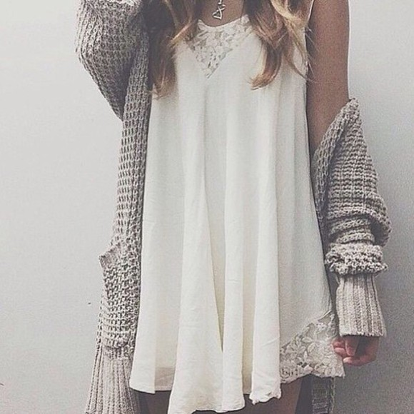 simple white dress short ress mini boho hippie indie gypsy cardigan