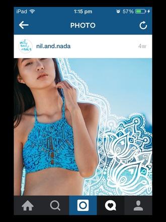 swimwear bikini pretty blue tropical swimwear halter top beach one piece swimsuit girly sexy