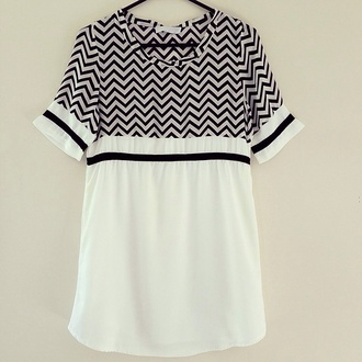 dress monochrome black and white tee dress shift dress chevron zigzag t-shirt tee t-shirt dress shirt dress tunic shift chiffon