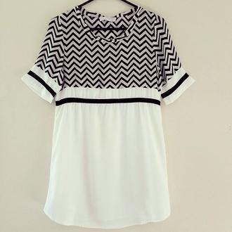 dress monochrome black and white tee dress shift dress chevron zigzag t-shirt t-shirt dress shirt dress tunic shift chiffon