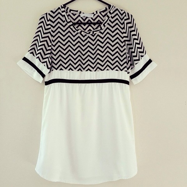 dress monochrome black and white tee dress shift dress chevron zigzag t-shirt t-shirt t-shirt dress shirt dress tunic shift chiffon