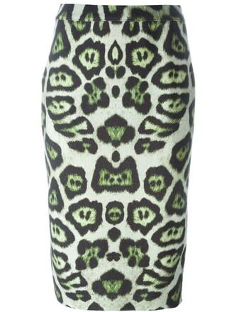 skirt print leopard print green