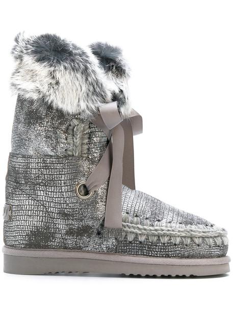 bow fur fox women moon cotton grey shoes