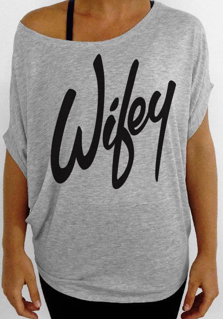 "Gray Sweater - Gray ""Wifey""  Tshirt | UsTrendy"