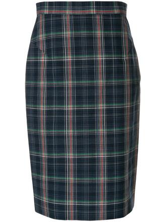 skirt pencil skirt women plaid cotton blue