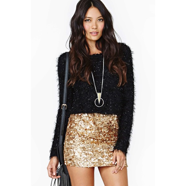 Rare London Gold Crush Sequin Skirt - Polyvore