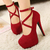 2014 Summer Women's Sexy Pumps  Red/Black Bottom Platform Strappy High Heels Party Shoes Big size (size 5 9)-in Pumps from Shoes on Aliexpress.com
