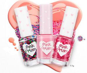 Etude house pretty heart glitter manicure pink prism nail polish unique nail art