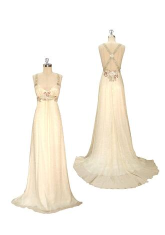 dress long dress empire waist spaghetti strap scoop neck embroidered cream dress ivory racerback floral silk dress
