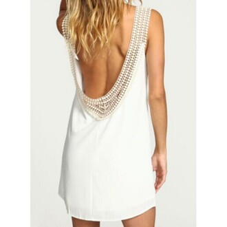 dress round neck ruffles backless chiffon dress round neck round neck dress white dress backless dress sexy dress lovely girly fashion summer party hot short dress party dress white pink one piece dress bikini swimwear jumpsuit skirt sexy party dresses