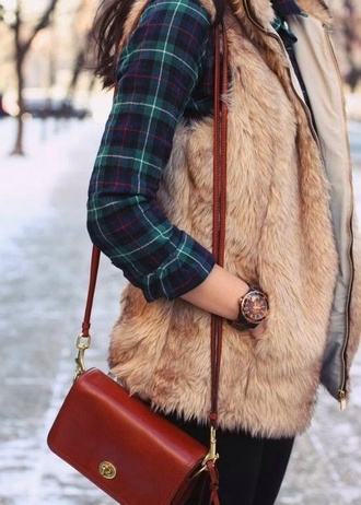 top vest plaid winter fall chic fur fur vest fall outfits faux fur vest jacket faux fur