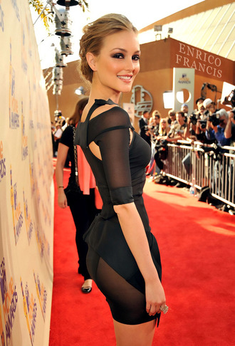dress cut-out dress black dress leighton meester bodycon dress red carpet black blair waldorf bodycon
