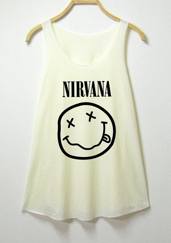 Nirvana women tank top off white shirt  sleeveless shirt by mgcafe