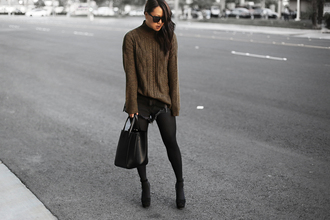 theversastyle blogger sweater shorts bag shoes knitted sweater turtleneck fall outfits winter outfits handbag