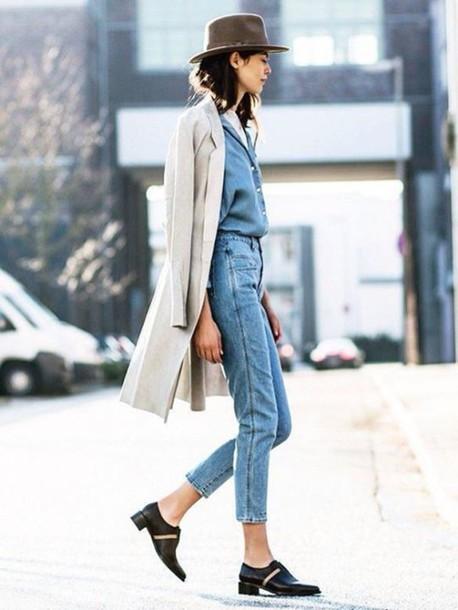 jeans shirt coat shoes hat