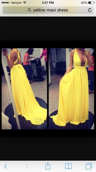 dress yellow gown yellow maxi yellow dress