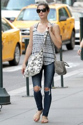 jeans,top,ashley greene,sandals,purse,skinny jeans,tank top,bag