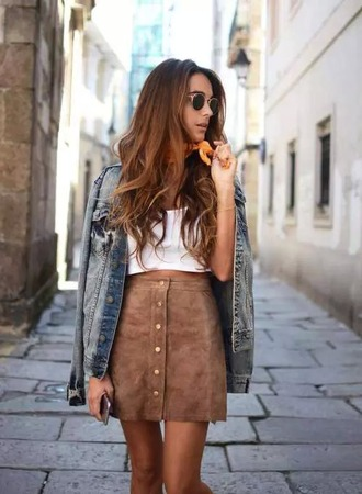 skirt suede brown crop top jeans sunglasses summer outfit street style denim jacket camel suede skirt suede skirt mini skirt crop tops white top denim fashionista blogger rayban bandana a line skirt button up skirt