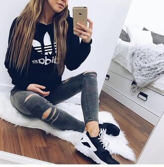 sweater black nike girl hoodie adidas black sweater grey jeans ripped jeans black sneakers model jacket