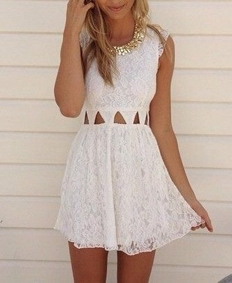 dress romantic summer dress romantic dress white dress white lace formal cut-out dress white lace dress white lace cut-out cute pretty nice dress cute dress lovely hair summer dress lace dress triangle short gold necklace