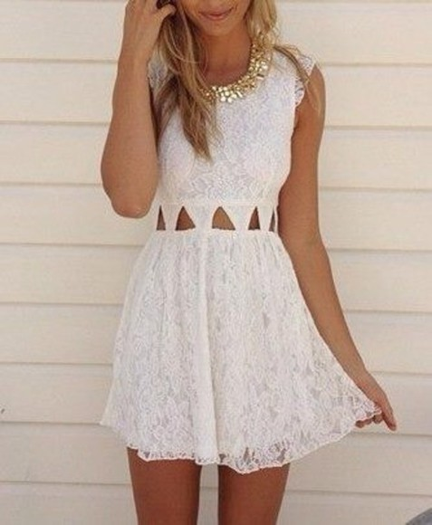 dress white lace white lace cutout pretty nice dress cute dress adorable hair pretty dress white dress formal cut out dress white lace dress cut outs cute cut out summer dress lace dress cutouts triangle