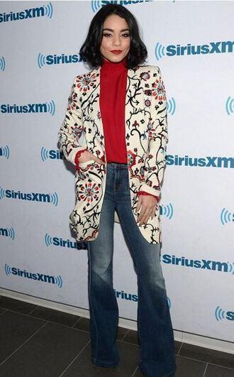 blazer jacket turtleneck vanessa hudgens fall outfits flare jeans