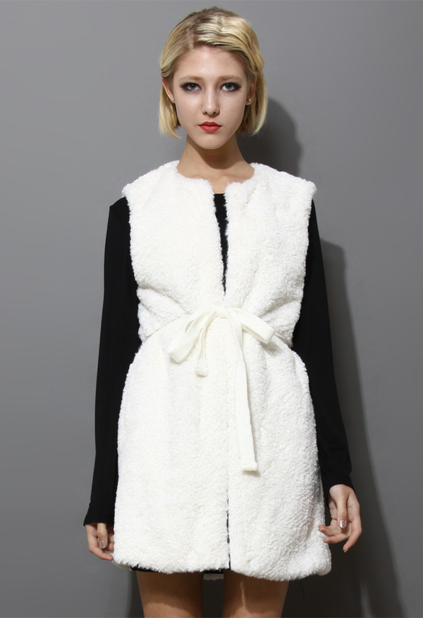 coat white long faux shearling vest
