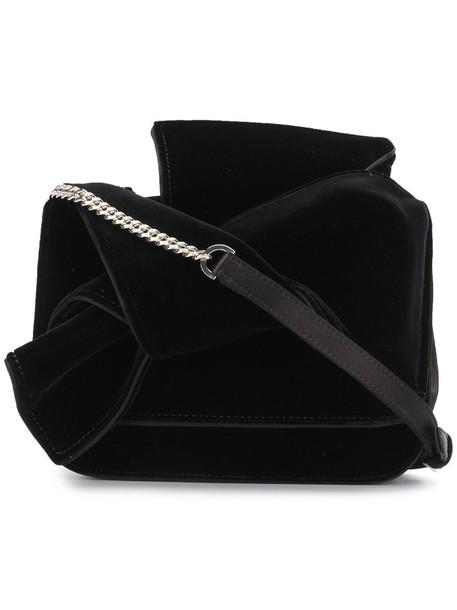 bow women bag shoulder bag black silk