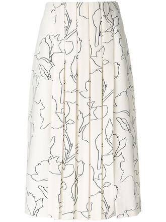 skirt patterned skirt pleated women white