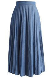 skirt,chicwish,chic pleats suspender denim midi skirt in navy,pleated skirt,denim skirt,navy skirt,chicwish.com