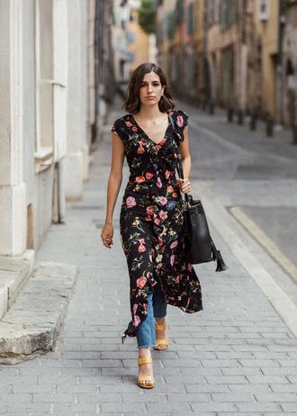 dress tumblr wrap dress midi dress floral floral dress denim jeans sandals sandal heels high heel sandals bag black bag shoes