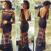 black dress,long dress,see through,v neck dress,lace dress,evening dress,long evening dress,dress,open back,mesh dress,mesh,black lace dress,prom dress,pretty,open back dresses,long open back dress,black long dresses,bridesmaid,navy,black,lace,prom,girly,girl,girly wishlist