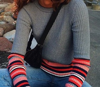 blouse red pink grey white navy grey sweater knitwear stripes striped sleeves