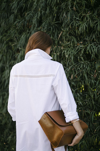 bag tumblr brown bag shirt white shirt