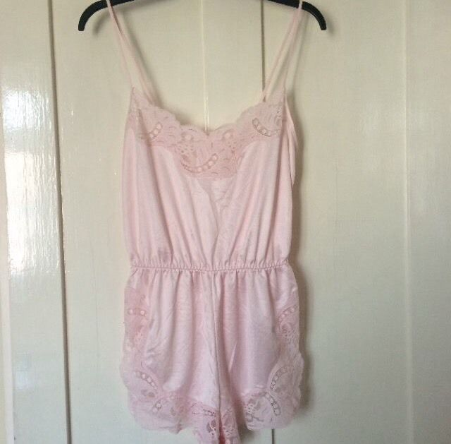 Vintage pink silk style material crochet playsuit xs s m 34