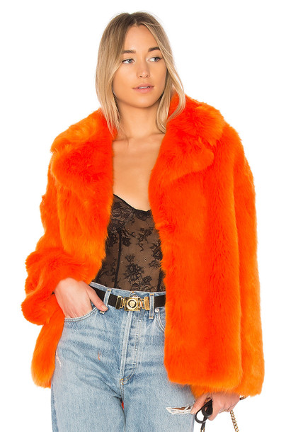 Diane Von Furstenberg jacket faux fur jacket fur jacket fur faux fur orange