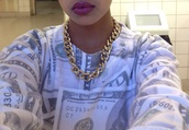 sweater,jewels,jacket,money,hoodie,h&m,green,white,cash,shirt,tumblr,swag,winter swag,hipster,dollar,lipstick,pretty,hot topic,gold chain,dope,african american,clothes,winter sweater,cute sweaters,style,fashion,dollar print,money sweater,dope shirt