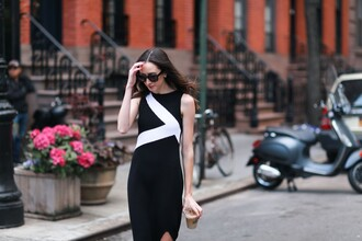 the glam files blogger dress sunglasses shoes black and white long dress bodycon dress city outfits streetstyle printed knit dress