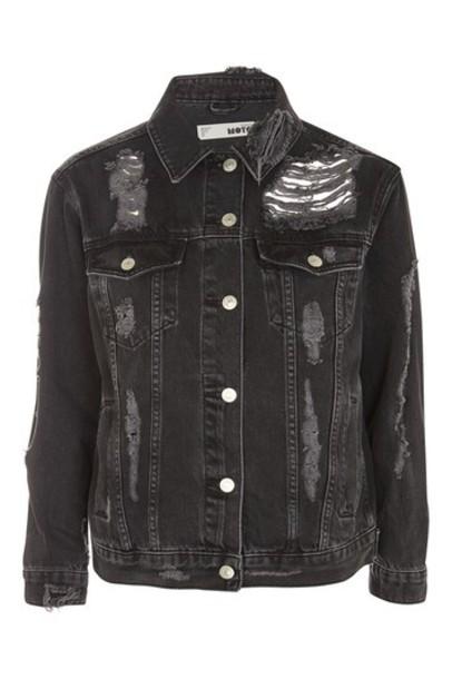 Topshop jacket denim jacket denim ripped black