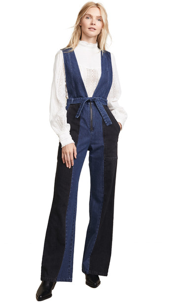 Sea 2 Tone Jumpsuit in black / indigo