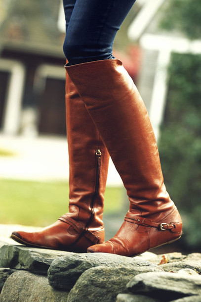 Shoes: boots, riding boots, brown leather boots, knee high ...