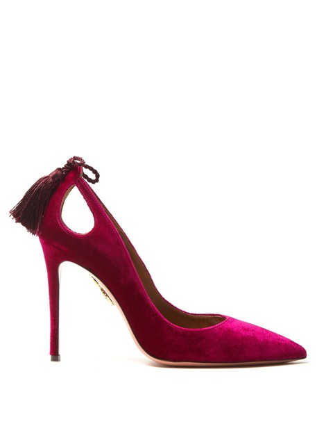 Aquazzura tassel forever pumps velvet pink shoes