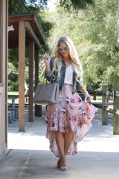 cortinsession,blogger,skirt,tank top,jacket,shoes,bag,sunglasses,jewels,denim jacket,handbag,sandals,high heel sandals,pink skirt,fall outfits